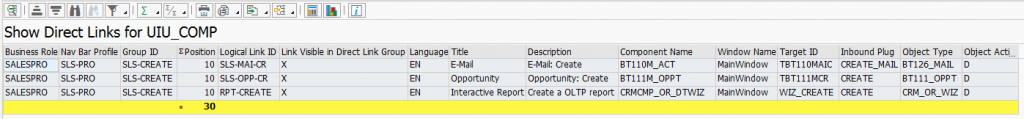 Abbildung 3: Direkt-Links ( Quelle SAP® CRM )