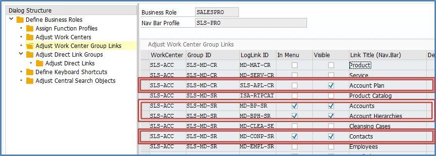 Uebersicht der Benutzerrolle ( Quelle SAP® CRM )