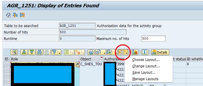 Bild 8: Anzeigevariante / Layout SE16N bearbeiten (Quelle SAP® ERP)
