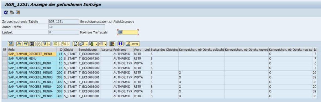 Bild 5: PLM Ergebnisliste SE16N (Quelle SAP® ERP)