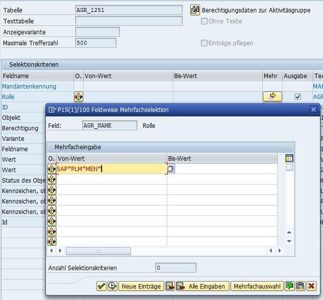 Bild 2: Mehrfachselektion SE16N (Quelle SAP® ERP)
