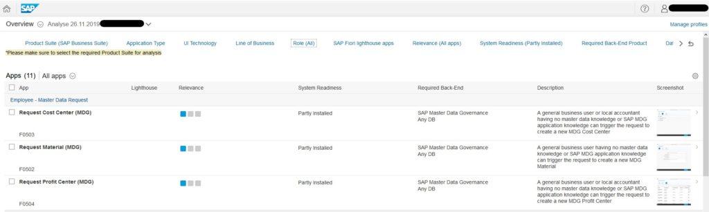 Analyseergebnis (Quelle SAP® Fiori App Recommendations)