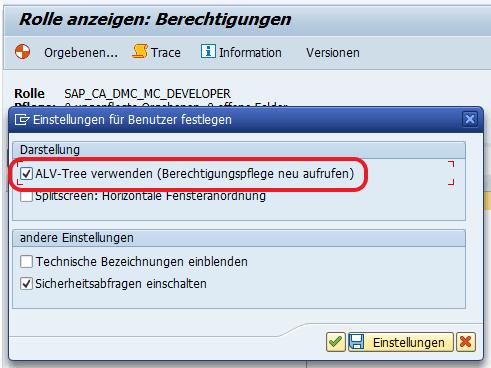 PFCG: ALV-Baum deaktivieren